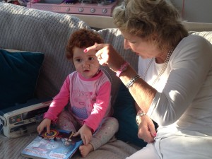 Margot chats to Grandma Annette as she receives an IV infusion of antibiotics this morning