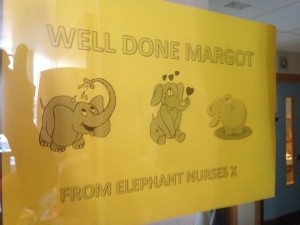 On hearing the news, some nurses came down from Elephant Ward (where Margot spent a good deal of time) and pinned this to our window in Robin ward