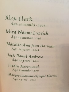 Margot's name is in the GOSH Book of Remembrance