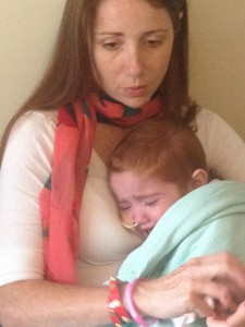 Distressed and very upset - there's not a great deal we can do other than try to comfort Margot