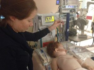 Vicki feeds Margot milk via her Naso Gastric tube in PICU