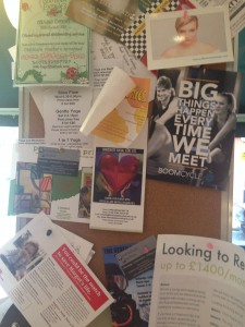 Vicki notices the cork board in Tuttis cafe is still displaying a leaflet from Margot's donor drive earlier this year