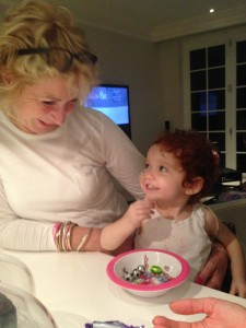 Margot with Grandma Annette last night in a jocular mood.