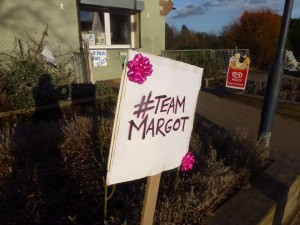 team Margot sign