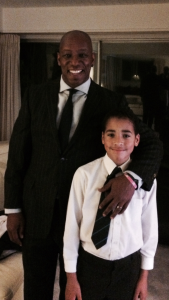 Ian Wright with Margot's cousin, Theo Bailey