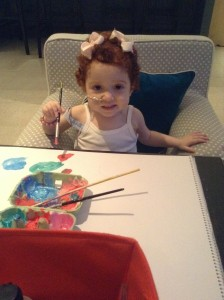Margot painting last night