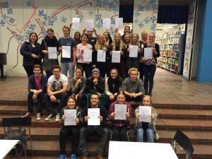 Danish students from classes 1x and 1pq at Vesthimmerlands Gymnasium, Aars, Himmerland, Denmark