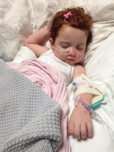 Margot asleep after having a new cannula installed in October last year