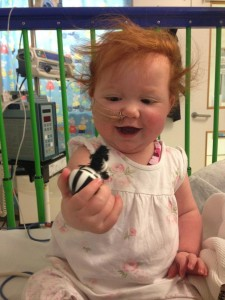 Margot in early December 2013 in Elephant Ward at Great Ormond Street Hospital