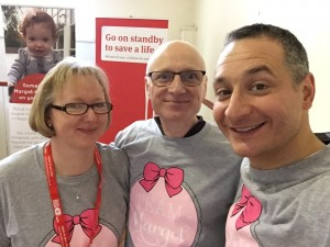 with old friends, Helen & James Scott  - James is Chief Executive of Royal United Hospitals Bath NHS Foundation Trust and is helping to spread the word in various hospitals