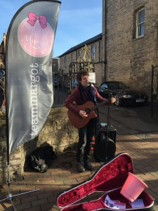 One of the buskers outside North Street Church
