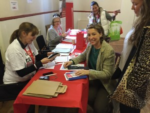 Rebecca Pow, Prospective MP for Taunton Deane registers, along with her daughter