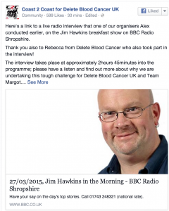 Click the image above and scroll to 02:46:10 to listen to Alex Hill of Coast2Coast & Rebecca Wilson from Delete Blood Cancer UK