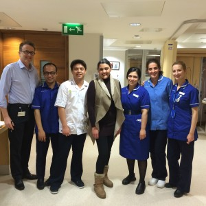 Katrina (centre) with the medical team at The London Clinic who performed her full medical check