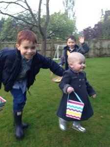 Easter egg hunt in the garden