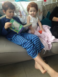 Oscar reads Blue Kangaroo to Margot