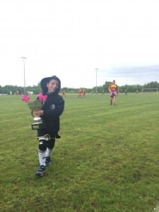 "Rufus comes off the pitch carrying the Margot Martini Cup and declares that he is ""sooo embarrassed"". Well done Rufus !"