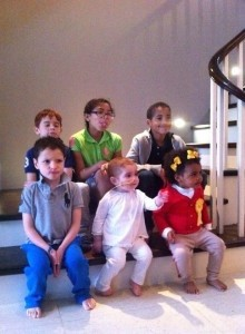 Margot, Oscar & Rufus with their cousins Macy, Theo & Louna - together Against Blood Cancer