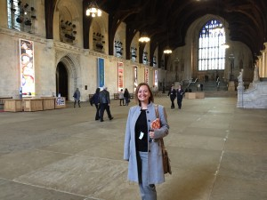 Margot's auntie Nadia in the Great Hall in Parliament during one of our various visits