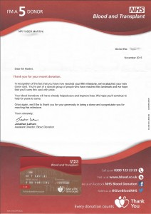 "I recently received this ""I'm a 5 donor"" letter from NHS Blood and Transplant"