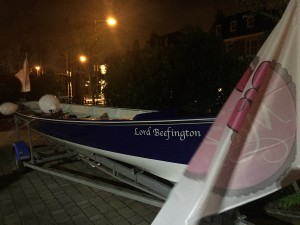 Our Celtic Longboat, Lord Beefington on display at last night's party