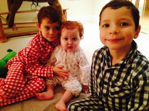 Former pyjama moments: the boys with Margot in November 2013 - she was on a course of Dex steroids, hence the swelling