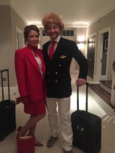 Vicki went as a Virgin air hostess (me as Richard Branson)