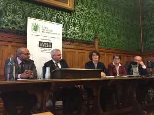 (Speakers l to r): Nulash, Mark TAMI MP, Health Secretary, Jane Ellison, Myfanwy Morgan (UCL) and Andrew Hadley, NHSBT