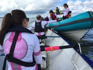 Practising getting on & off the support rib - we'll need to do this every hour, whatever the weather & conditions and throughout the night