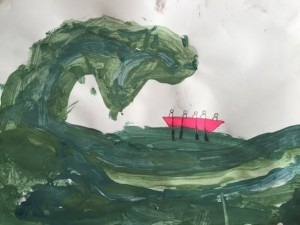 "Ian's son, Oliver (Y3) painted this picture of ""Dad's rowing holiday"" on Sunday. Prophetic."