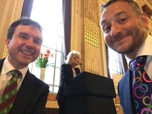 Earlier in the evening, with Andrew Griffiths MP, as Minister Anna Soubry gave her opening remarks before dinner. I had no idea.