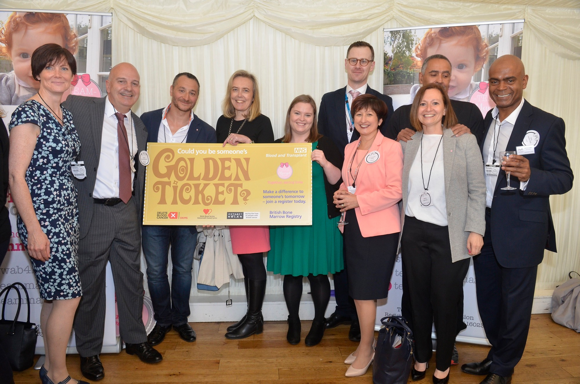 Together, saving lives - (L to R) Emma Cook, CEO Welsh Bone Marrow Donor Registry; Peter Mas-Mollinedo, CEO Delete Blood Cancer UK; Yaser Martini, Margot's father; Henny Braund, CEO Anthony Nolan; Ann O'Leary, Anthony Nolan; Theo Clarke, NHS Blood and Transplant; Dr Tracey Rees (WBMDR); Nadia Martini, Margot's auntie; Daley Thompson; Orin Lewis OBE, ACLT Charity