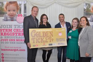 (L to R): Alistair Petrie; Natalie Pinkham; Yaser; Ann O'Leary, Anthony Nolan & Nadia