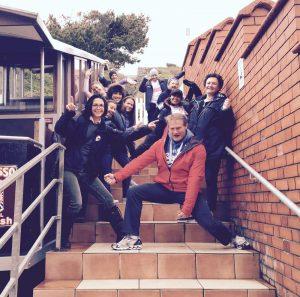 An exploratory team trip up the funicular