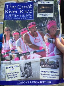 Team Margot Rowers featured on the front of the Official Souvenir Magazine yesterday