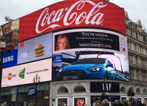 Team Margot appeared on the iconic Piccadilly Lights on 7 October 2016