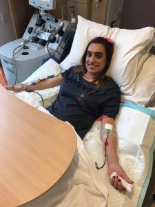 Rajbinder Kullar donating her peripheral blood stem cells