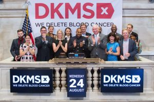 Team Margot USA support for DKMS PSA campaigns on TV resulted in invitation to NYSE