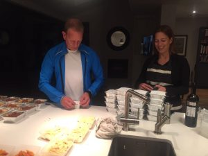 Sharon & Mike preparing the food prior to departure - it was fantastic to have decent hot food on board