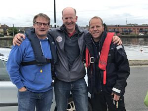 (L to R): Martin, Tim Downes (who we met last year - his team had to retire after their rib disintegrated) and Mike