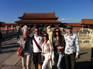 Vicki & I with Franca (plus her son Jan & his wife, Zhen) in Beijing, China in 2011