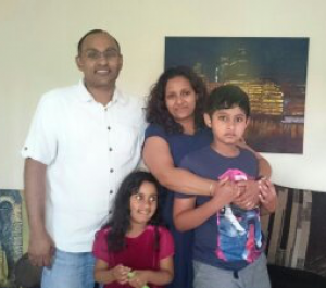 Kenu and Ashi with their mum, Anusha and dad, Suneth