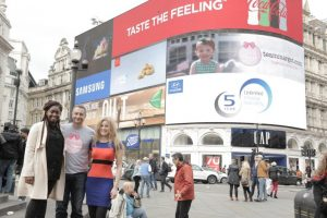with students Daniella Bernard & Grace Hynds at Picadilly Circus in 2016