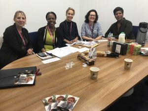 Meeting with the Clic Sargent Care Support Workers at GOSH in September 2017 who underscored how helpful the grants were to the patient families (L to R) Rowina Ellis, Audrey Murray, Lena Copley, Barbara Inglin, Michelle Vernon