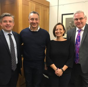 Behind the scenes, we are regular visitors to Westminster: Margot's auntie Nadia & I with shadow Health Secretary, Jon Ashworth MP and our friend, Mark Tami MP, chair of the APPG on Stem Cells