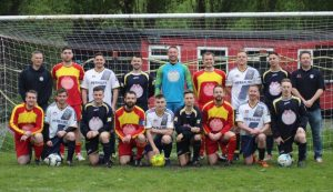 Many congratulations to Wednesbury Athletic Football Club, League Champions seen here sporting their 3 kits, all of which endorse Team Margot. THANK YOU so much to the entire club: all the players, staff and supporters alike for your ongoing support and for helping to raise awareness every time you play. Special thanks also to manager, Gav Ingles (standing, far left)
