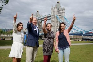 'The Power of One' photographic exhibition features, amongst others, three people who signed up because of Margot's campaign & then went on to actually donate their stem cells and bone marrow (l to r): Rajbinder Kullar, Katrina Krishnan Doyle, Rosalyn Mafi pictured here with Dr Phil Ancliff, Margot's consultant and Head of Haematology at Great Ormond Street Hospital