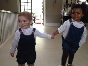 Margot & her cousin, Louna sporting matching dungarees