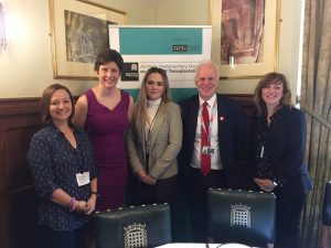 (l to r): Margot's auntie Nadia, Alison Thewliss MP, Leah Stott (stem cell donor), Nic Dakin MP (chair of APPG on Cancer), Andrea Mason (senior tutor of Wyke Sixth Form College)