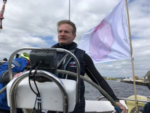 Martin Beaumont, our skipper at the helm of The Mistral of St Helier